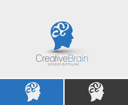 Symbol of Creative Brain, isolated vector logo design