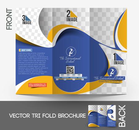 Kids School Tri-Fold Brochure Mock up Design  Vector