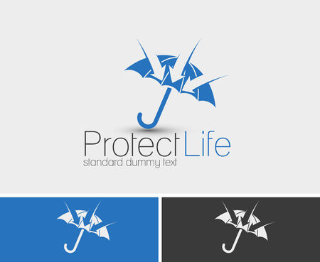 financial emergency: Symbol of Protect Life, isolated vector logo design