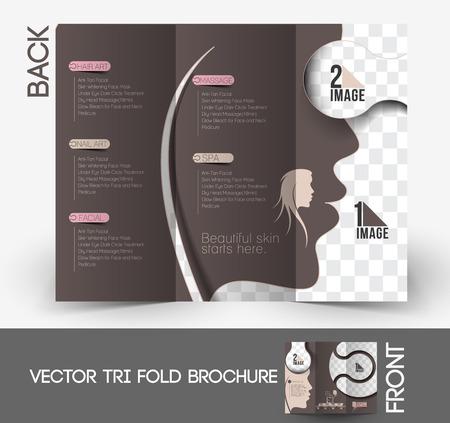 Beauty Care & Salon Tri-Fold Brochure Mock up Design. Vector