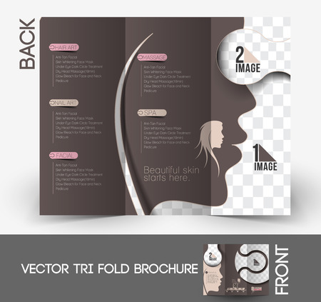 hair dresser: Beauty Care & Salon Tri-Fold Brochure Mock up Design. Illustration