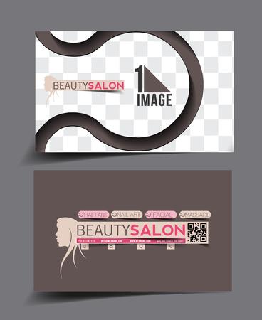beauty care: Beauty Care & Salon Business Card Mock up Design Illustration