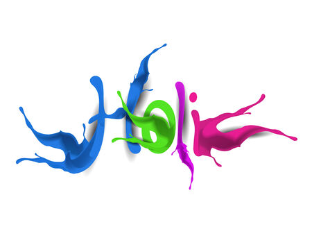 Happy Holi celebrations with paint splash colorful text  Vector