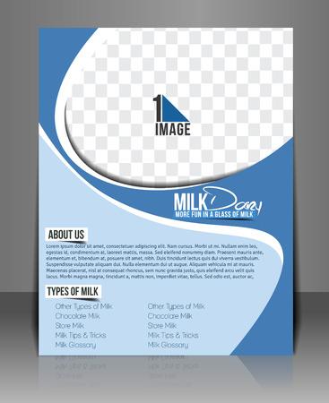 Milk Store Flyer Template Design.  Illustration
