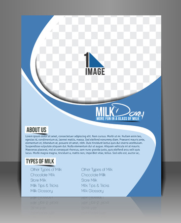 Milk Store Flyer Template Design.  Illustration