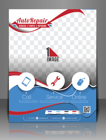 Automobile Center Flyer, Magazine Cover & Poster Template.  Vector