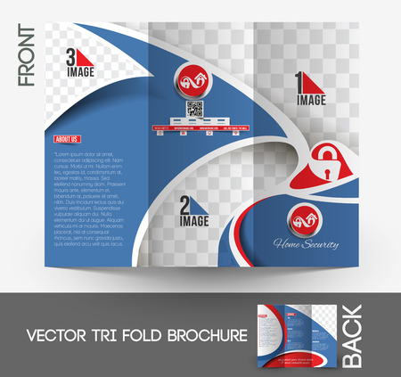 Home Security Center drieluikbrochure Mock up Design.