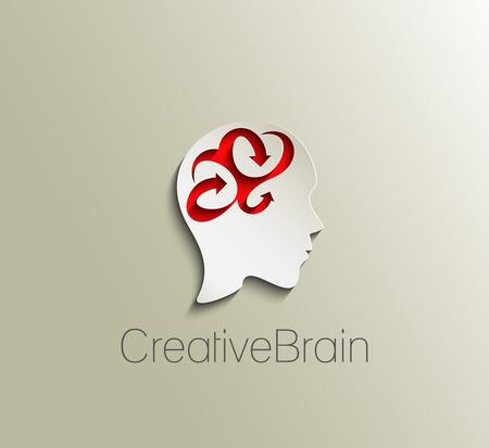 question mark: Symbol der kreative Kopf, isoliert Vektor-Logo-Design