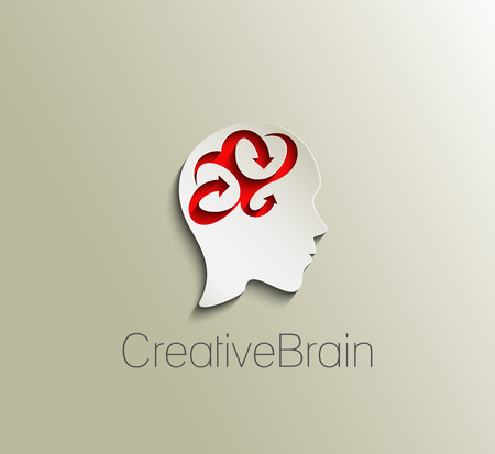 Symbol of Creative Brain, isolated vector logo design  Vector