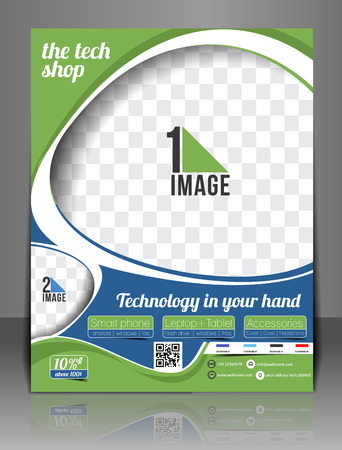 The Tech Shop Flyer Magazine Cover & Poster Template. Vector
