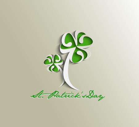 four leafed clover: Saint Patricks Day Typographical Design.