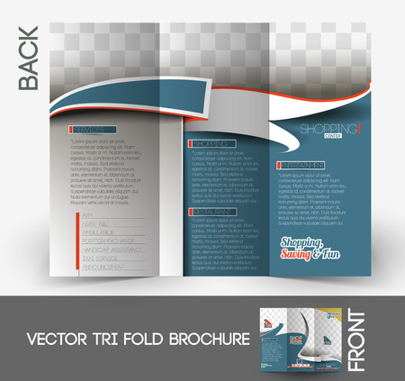 Shopping Center Store Tri-Fold Brochure Mock up Design.  Vector