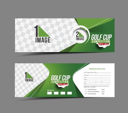 골프 컵 헤더 및 배너 디자인 일러스트
