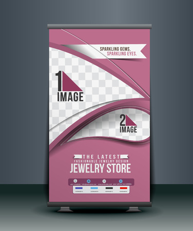 jewelry store: Jewelry Store Roll Up Banner Design Illustration