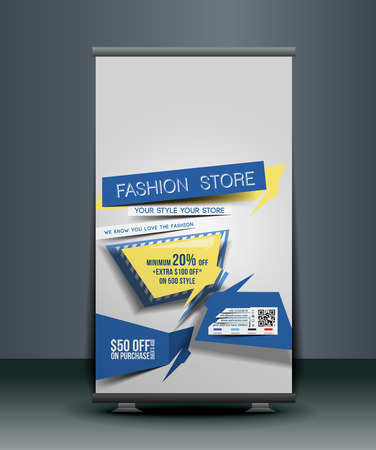 Fashion Store Roll Up Banner Design. Vector