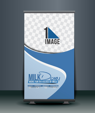 roll up: Milk Dairy Roll Up Banner Design Illustration