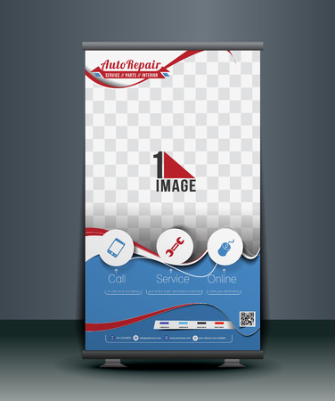 roll up: Automobile Center Roll Up Banner Design