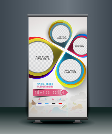 banner stand: Interior Design Business Roll Up Banner Design Illustration