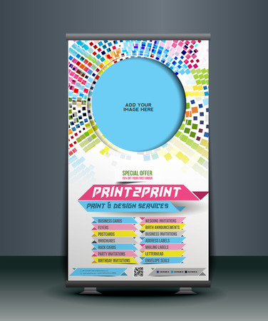 상점 롤 업 배너 디자인을 인쇄하기