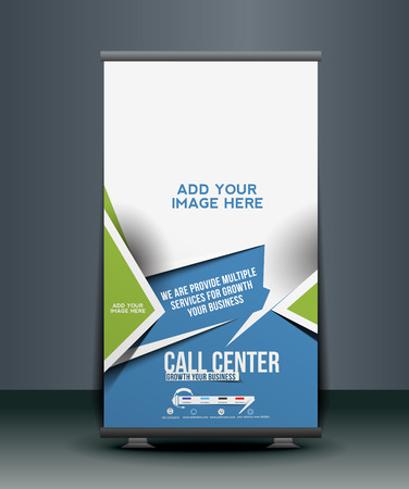 banner stand: Call Center Roll Up Banner Design Illustration