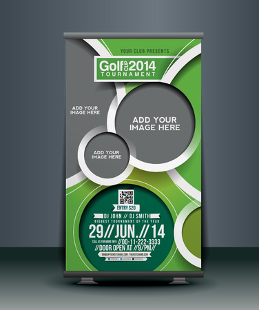 Golf Competition Roll Up Banner Erstellung Illustration