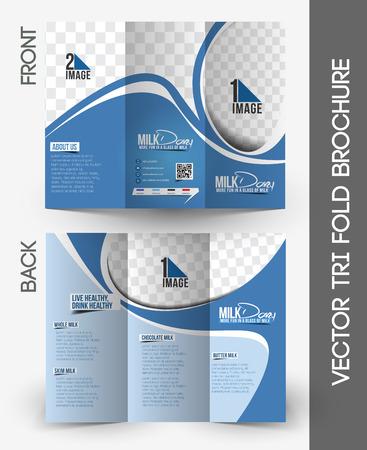 Milk Store Tri-Fold Brochure Mock up Design.