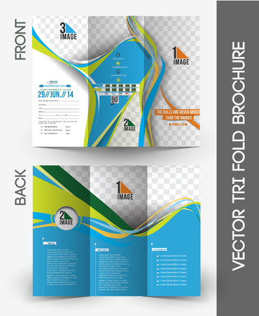 Tennis Competition Tri-Fold Brochure Mock up Design 向量圖像