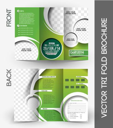 Golf Tournament Tri-Fold Mock up & Brochure Ontwerp Vector Illustratie