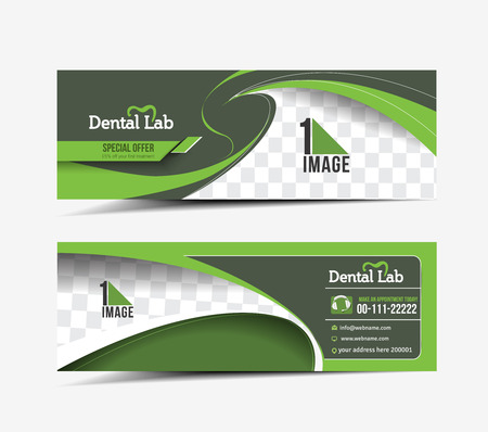 Dental lab Web Banner, Header Layout Template. Illustration