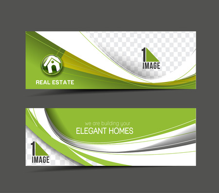 headers: Real Estate Web Banner & Header Layout Template. Illustration