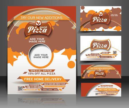 Bundle of Pizza Shop Flyer, Business Card, Header & Banner Design