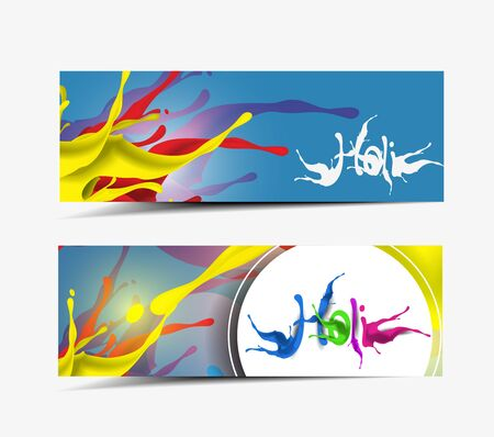 Happy Holi Celebrations With Paint Splash Colorful Banner Template Vector