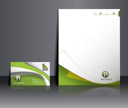 Immobilienmakler Corporate Identity Template Illustration