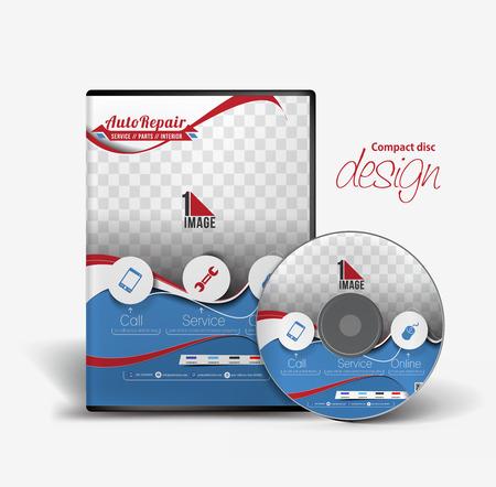 dvd case: Auto Rapair DVD Case and Disc Vector Design