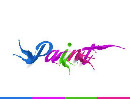 Paint Splash Colorful Text Design Illustration