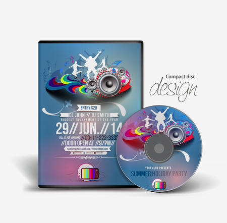 dvd cover: Music DVD Case and Disc Vector Design