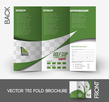 TriFold Golf Tournament Mock Up  Brochure Design Royalty Free