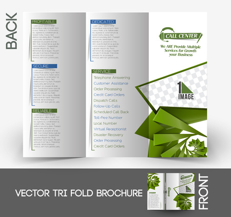 Call Center Tri-fold Brochure Design Template Vector