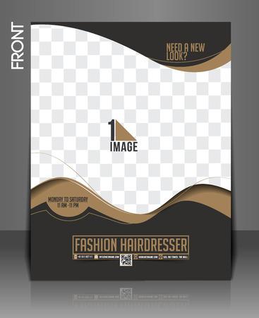 beauty center: Fashion Hairdresser Flyer & Poster Design. Illustration
