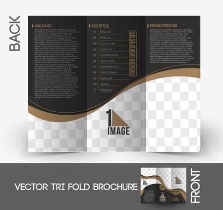 Fashion Hairdresser Tri-Fold Mock up & Brochure Design. Vector