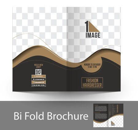 bifold: Fashion Hairdresser Bi-Fold Mock up & Brochure Design. Illustration