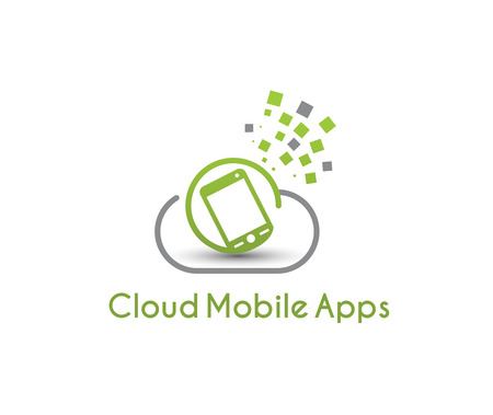 Cloud Mobile Apps Logo, vector illustration