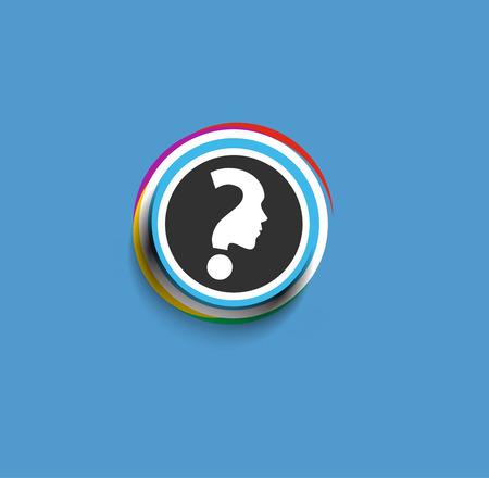 illustration man: Modern stylish colors question mark web icon design element. Illustration