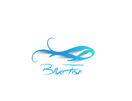 blue fish: Blue Fish Symbol - vector illustration