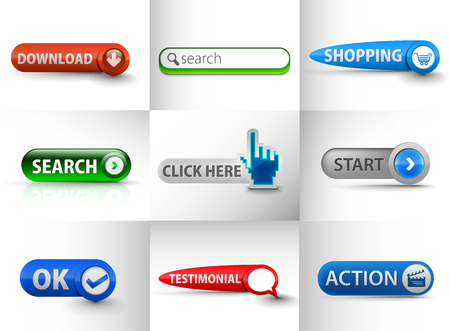 Set of Icons for Download, Search, Start, Action , ok, Testimonial Web Icon Design Template Vector