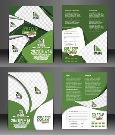 green background pattern: Set of Golf Tournament Front & Back Flyer Template