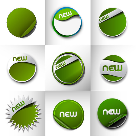 e new: Design of advertisement labels stickers. transparent shadow easy replace background and edit colors. Illustration