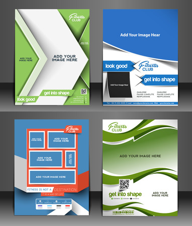 Fitness Center Flyer & Poster Template  イラスト・ベクター素材