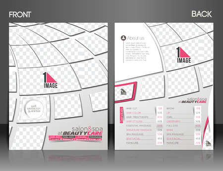 Beauty Care & Salon Front & Back Flyer & poster Template Illustration