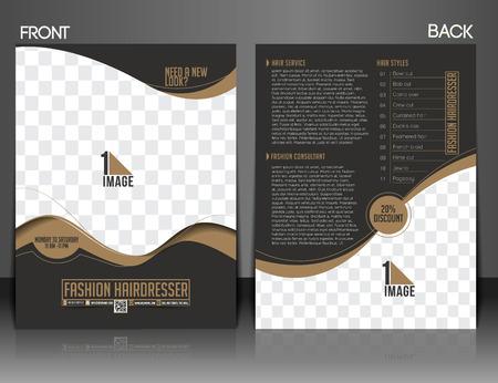 패션 미용사 앞 & 뒤로 플라이어 & 포스터 디자인.